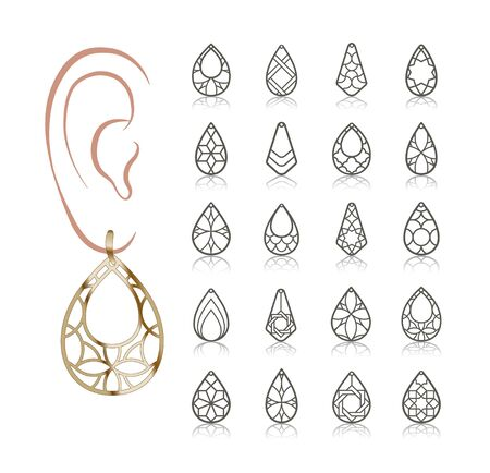 20 modèles vectoriels de boucles d'oreilles. Des silhouettes découpées comme une larme. Le design convient à la création de bijoux féminins délicats en filigrane. Vecteurs