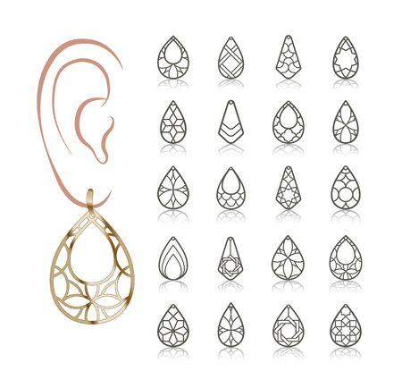 20 modelli vettoriali di orecchini. Sagome ritagliate come una lacrima. Il design è adatto per creare delicati gioielli da donna in filigrana. Vettoriali