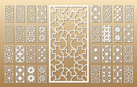 33 vector panels. Cutout silhouette with arabic (girih geometric) pattern. A picture suitable for printing invitations, laser cutting (engraving) stencil, wood and metal decorations. Ilustração Vetorial