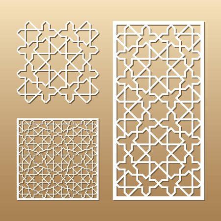 Panel de vector cortado con láser. Silueta de recorte con patrón geométrico sin costuras. Una imagen adecuada para impresión, grabado, corte por láser de papel, madera, metal, fabricación de plantillas.