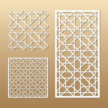 Laser cut vector panel. Cutout silhouette with geometric seamless pattern. A picture suitable for printing, engraving, laser cutting paper, wood, metal, stencil manufacturing.