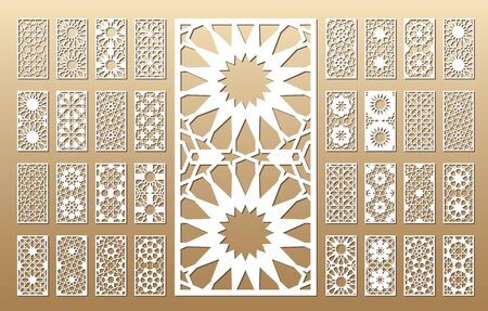 33 vector panels. Cutout silhouette with arabic (girih geometric)  pattern. A picture suitable for printing invitations, laser cutting (engraving) stencil, wood and metal decorations. Ilustração