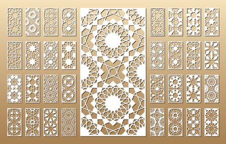 33 paneles vectoriales. Silueta de recorte con patrón árabe (girih geométrico). Una imagen adecuada para imprimir invitaciones, estarcido de corte por láser (grabado), decoraciones de madera y metal. Ilustración de vector
