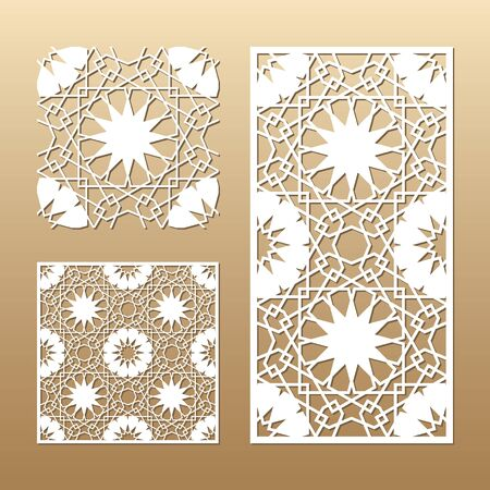 Die cut card. Laser cut vector panel. Cutout silhouette with geometric seamless pattern. A picture suitable for printing, engraving, laser cutting paper, wood, metal, stencil manufacturing. Ilustração