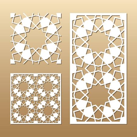 Die cut card. Laser cut vector panel. Cutout silhouette with geometric seamless pattern. A picture suitable for printing, engraving, laser cutting paper, wood, metal, stencil manufacturing. Illustration