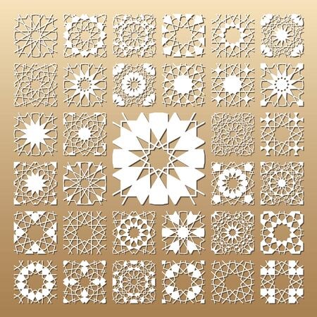 33 vector panels. Cutout silhouette with arabic (girih geometric) seamless pattern. A picture suitable for printing invitations, laser cutting (engraving) stencil, wood and metal decorations.
