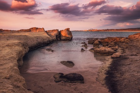 Purple sunset at the desert coastline on Northern Cyprus