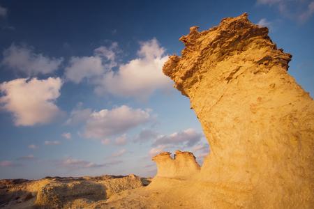Sandrock figure on a rocky beach Northern Cyprus Stok Fotoğraf