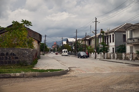 Cobuleti street in a cloudy weather Georgia 写真素材