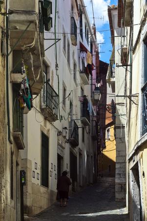 Narrow Lisbon pedestrian road Stock Photo