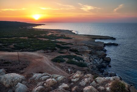 Aerial view to western part of the Cyprus island from a top of a hill on Zafer Burnu point Reklamní fotografie