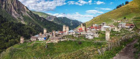 Beautiful panorama landscape with authenyic village Adishi with stone svan towers in mountains of Svaneti Georgia