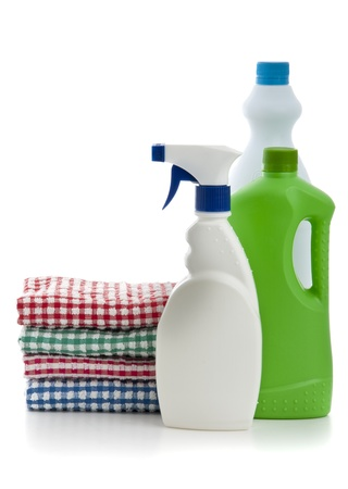 House Cleaning Chemicals on White photo