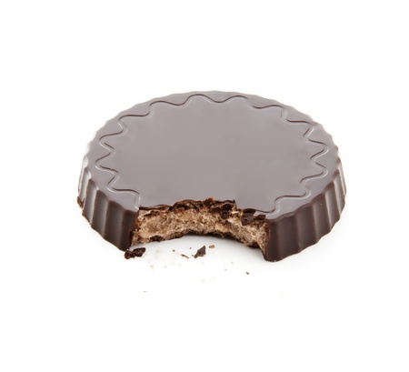 Brown Chocolate Cookie Isolated on White photo
