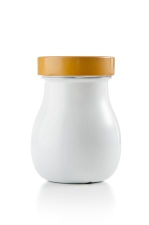 pokrywka: Puste plastikowe Jar na białym Zdjęcie Seryjne