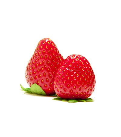 Two Strawberry Fruits on White photo