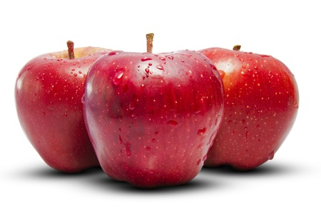 A Group of Three Fresh Apples Stock Photo