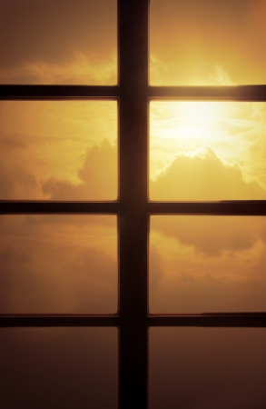 Sunset Behind Window photo