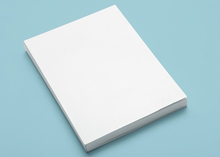 Blank Book on Blue Stock Photo