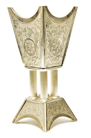 incienso: Arabian oro Carb�n Incensario Foto de archivo