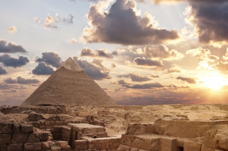 Sunset at Pyramids Stock Photo
