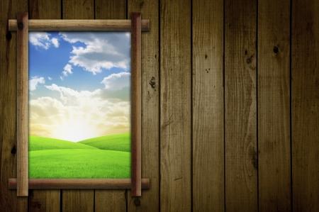 cabins: Field Through Window