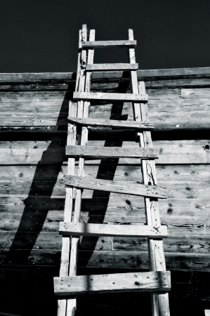 Grungy Ladder and Shadows Stock Photo