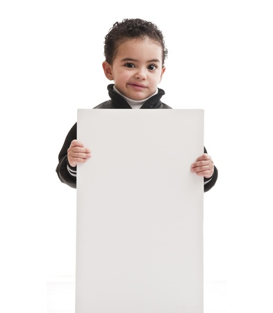 child holding sign: Boy with Blank Board
