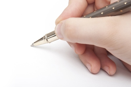 signing document: Hand Writing Stock Photo