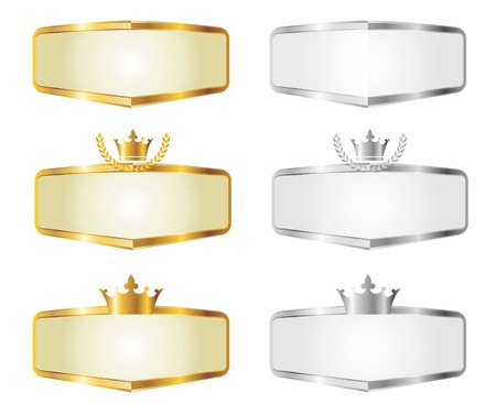 Gold and Silver Banners of Royal Seal Set Vector
