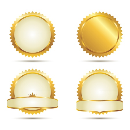 Badges of Gold Seal Set Vector