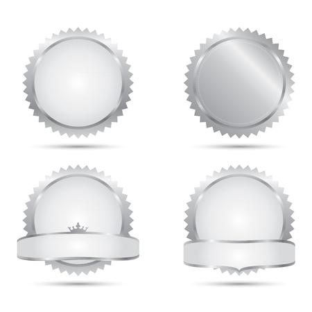 Badges of A Set of Silver Seals Vector