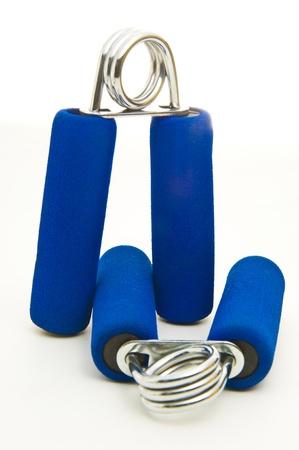 Two Blue Hand Exercising Flexors Isolated on White Background Stock Photo - 16950351