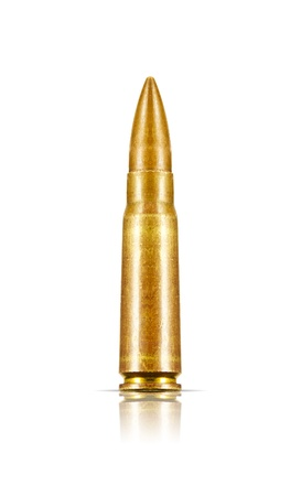 full metal jacket: 7.62x39mm Assault Rifle Bullets Isolated on White Background