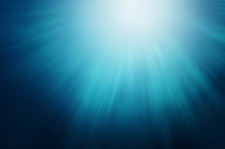 Abstract Blue Sun Lights Under Water
