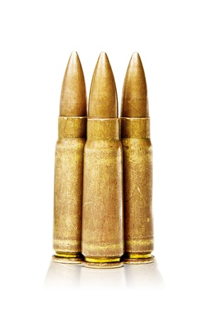 assault rifle: Three 7.62x39mm Assault Rifle Bullets Isolated on White Background