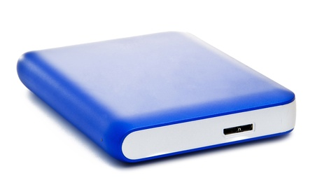 portable hard disk: Blue Portable Drive Isolated on White Background