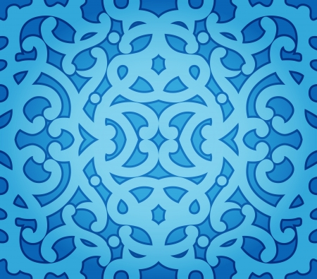 arabesque: Abstract Background of Blue Floral Seamless Pattern