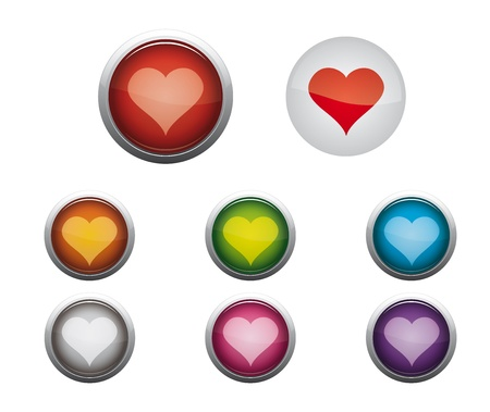 Abstract Vector Glossy Web Buttons of Internet Heart Stock Vector - 17084518