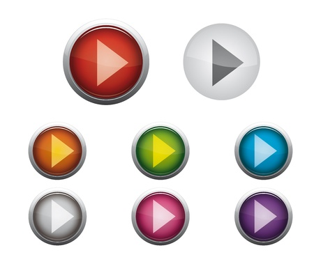 Abstract Glossy Web Buttons of Internet Music Play Vector