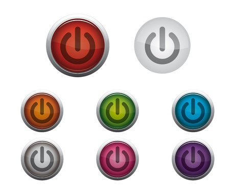 Abstract Glossy Web Buttons of Power On Stock Vector - 17084521