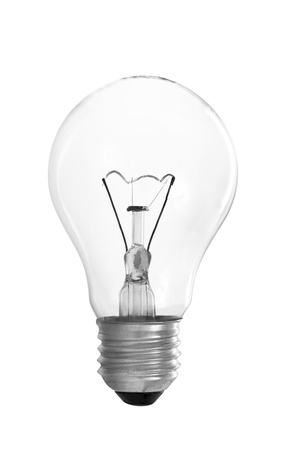 filaments: Clear Light Bulb With Filament Showing Isolated on White Background