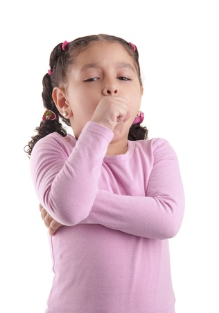Little Sick Girl Coughing Isolated on White Background photo