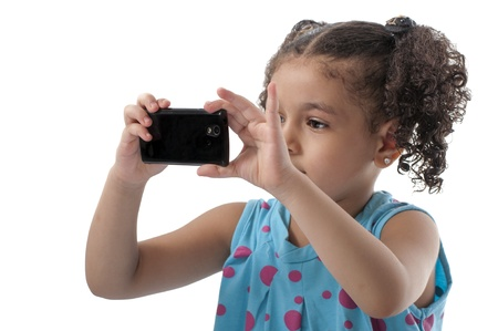 Lovely Girl With Phone Camera Taking Pictures on White Background photo