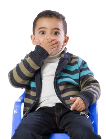 Little Boy Scared Isolated on White Background