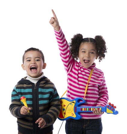 Happy Kids Music Band Isolated on White Background photo