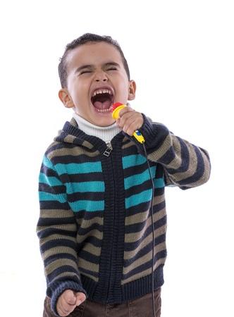 loudly: Little Boy Singing Loudly Isolated on White Background