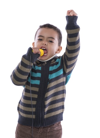 A Boy Performing Loud Speech Isolated on White Background photo