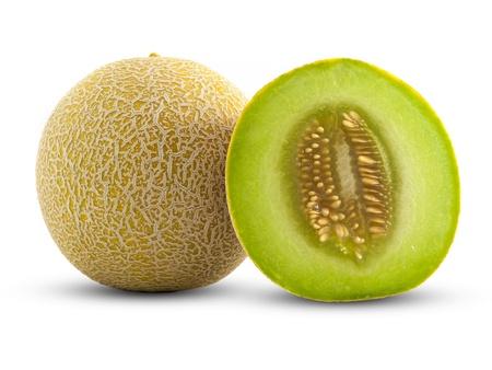 melon fruit: Full and Half Cantaloupe Isolated on White Background