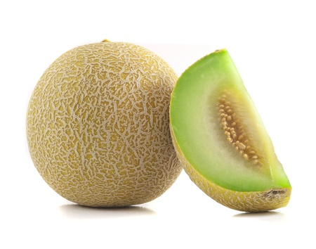 Full and Slice Cantaloupe Isolated on White Background Stock Photo